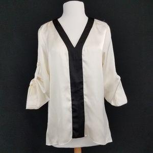 Ellen Tracy Blouse Top 3/4 roll tab sleeve Ivory S
